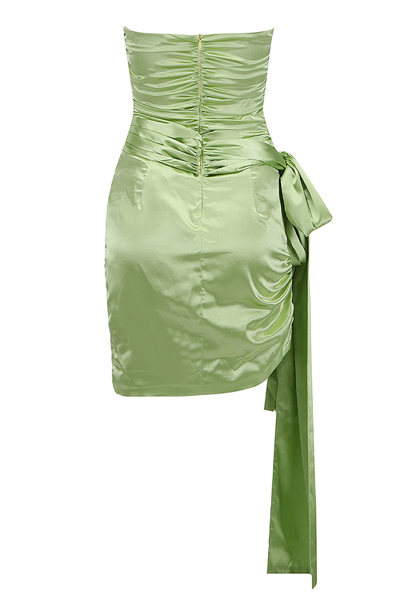 Light Green Strapless Hollow Out Ruffled Mini Dress