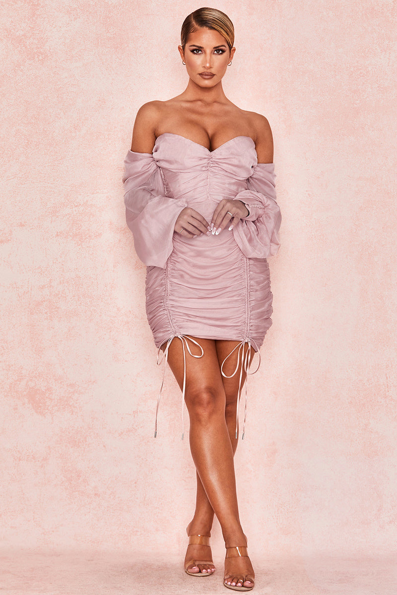 Light Pink V Neck Off Shoulder Short Party Dress - iulover