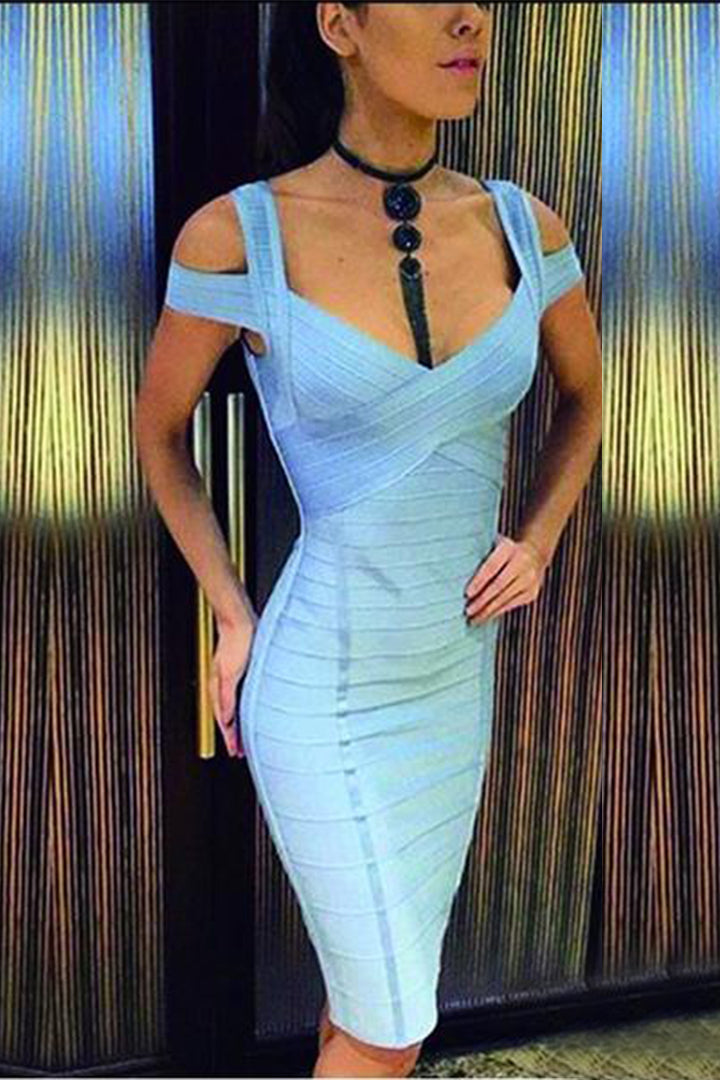 Light Blue Elegant Off Shoulder Cross Bandage Dress - iulover