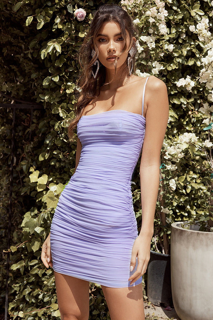 Light Purple Mesh Strappy Ruffle Mini Dress - iulover