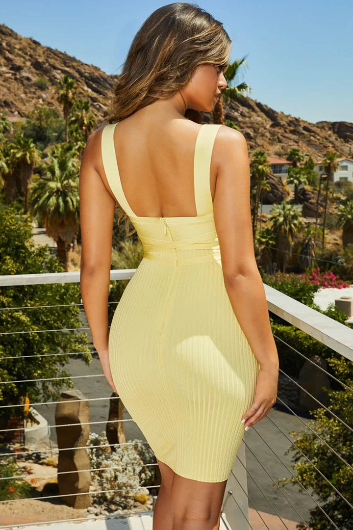 Pastel Yellow / White Strappy V Neck Bandage Midi Dress - iulover