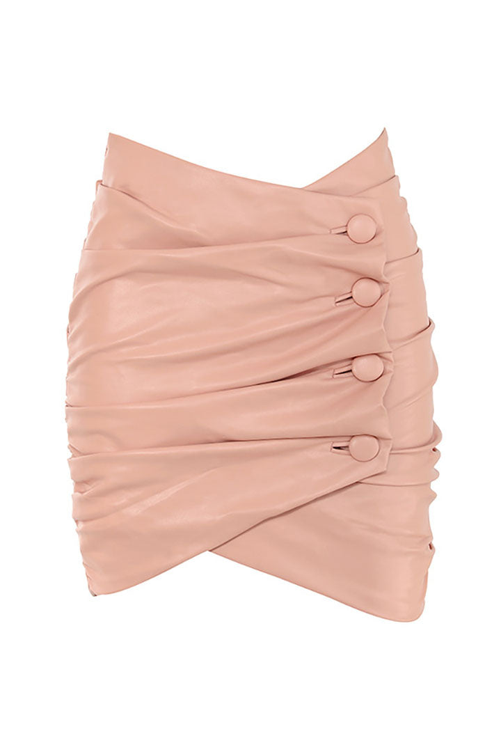Lily Blush Vegan Leather Wrap Mini Skirt - iulover