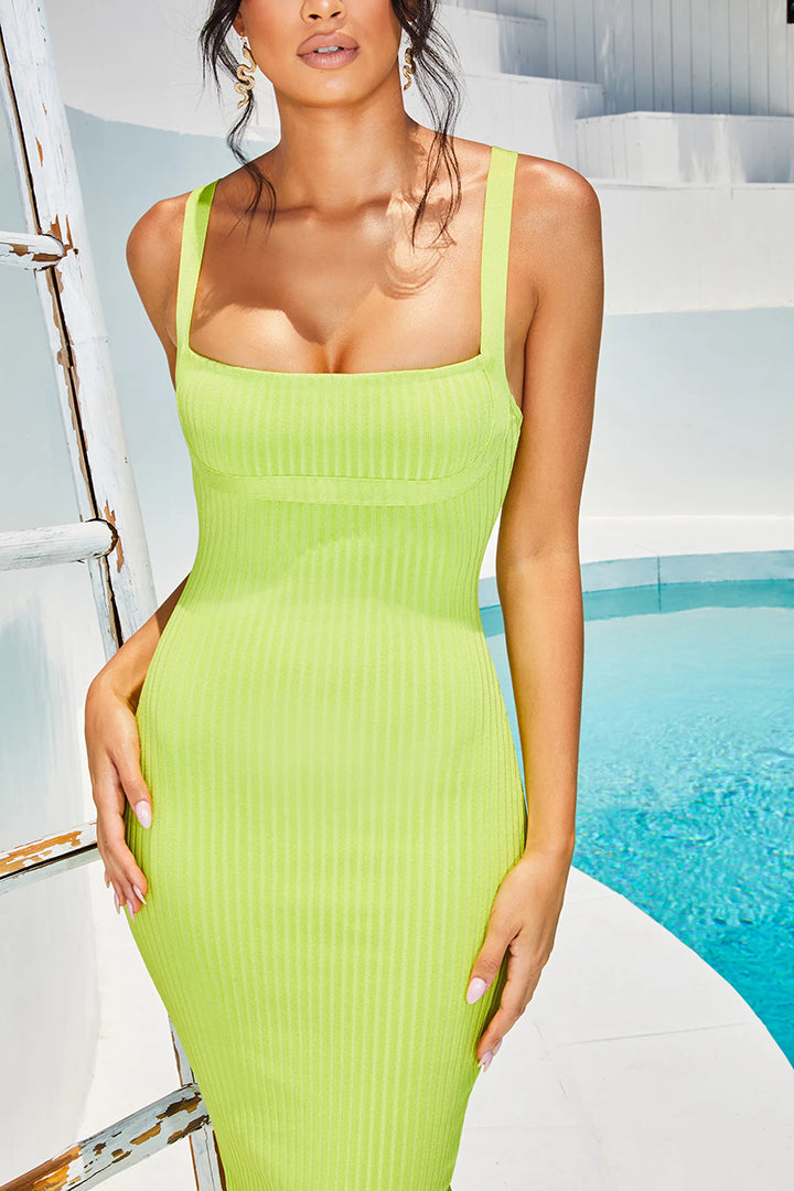 Lime Ribbed Long Midi Dress - iulover
