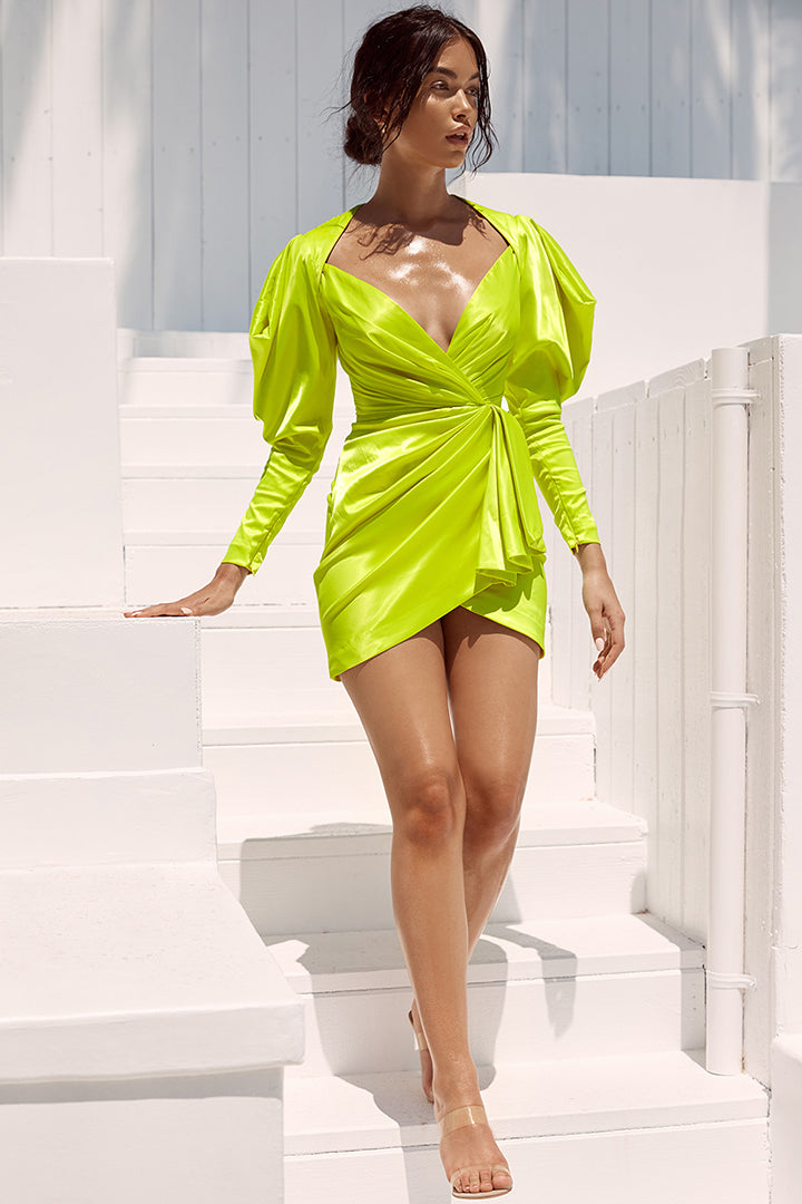 Fluorescent Green Lime Satin Draped Sleeve Dress - iulover