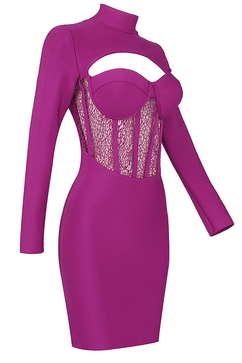 Purple Long-Sleeved High Neck Hollow Lace Stitching Bandage Dress