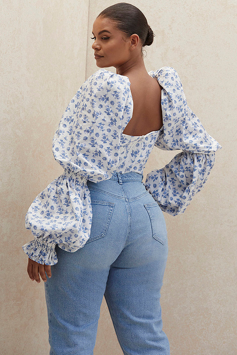Long Puff Sleeve Low-cut Lacing Up Floral Pattern Crop Top