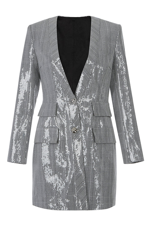 Plaid Long Sleeve Deep V Sequins Silver Sparkly Blazer Dress