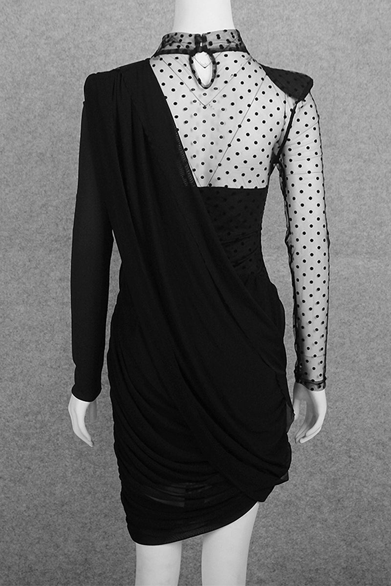 Black O-neck Polka Dot Mesh Patchwork Long Sleeve  Party Dress