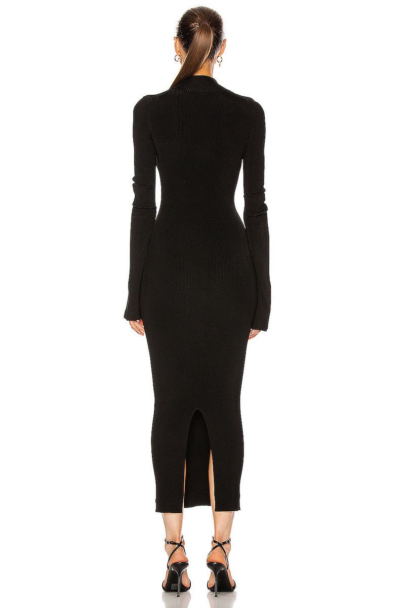 Black Full Sleeves Hollow Out Mid Bandage Dress