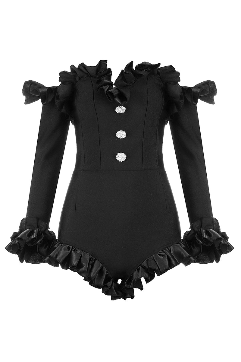 Off Shoulder Ruffled Diamond Button Black Bandage Bodysuit