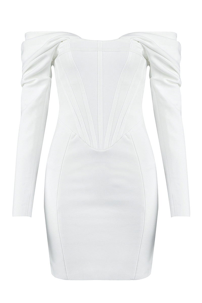 Long Sleeve Off Shoulder White Mini Bandage Dress
