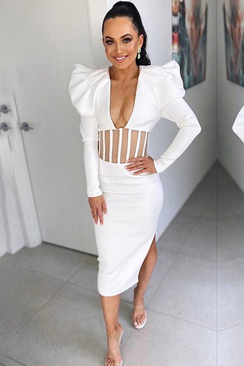 White V-neck Puff Sleeve Mesh Patchwork Bandage Dress