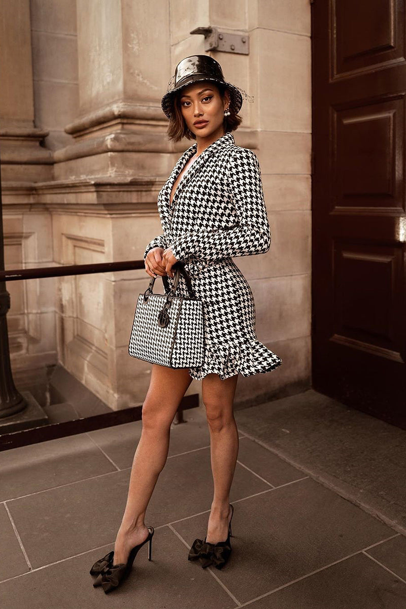 Lapel Long Sleeve Ruffled Houndstooth Dress