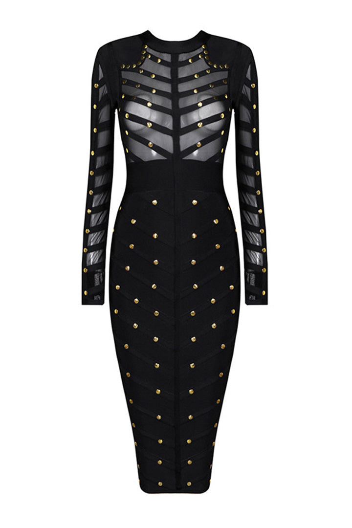 Perspective Mesh Rivets Studded Long Sleeve Midi Dress - iulover