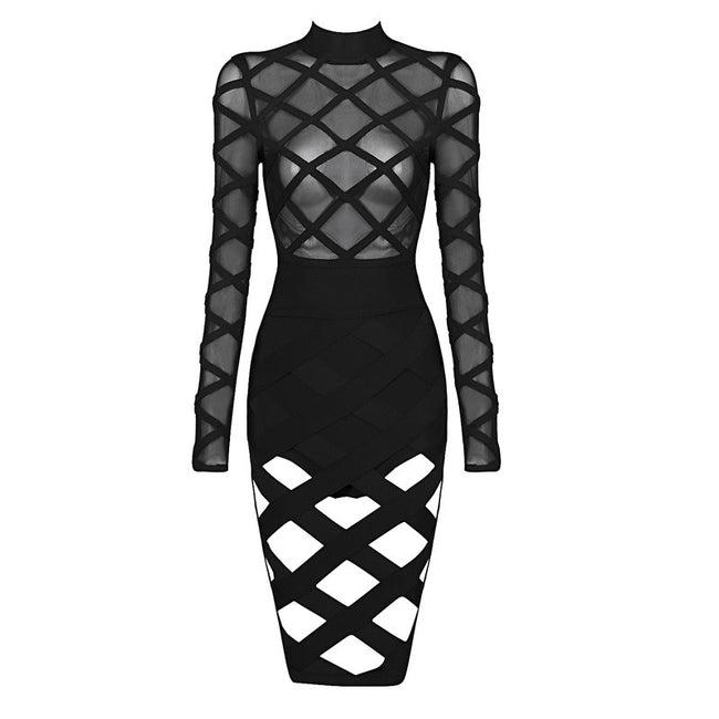 Long Sleeves Cut Out Mesh Bandage Dress Various Colours - iulover