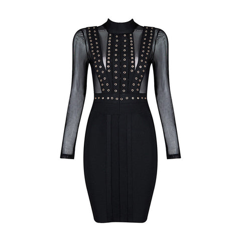 Long Sleeves Studs Mesh  Pink Black Bandage Dress