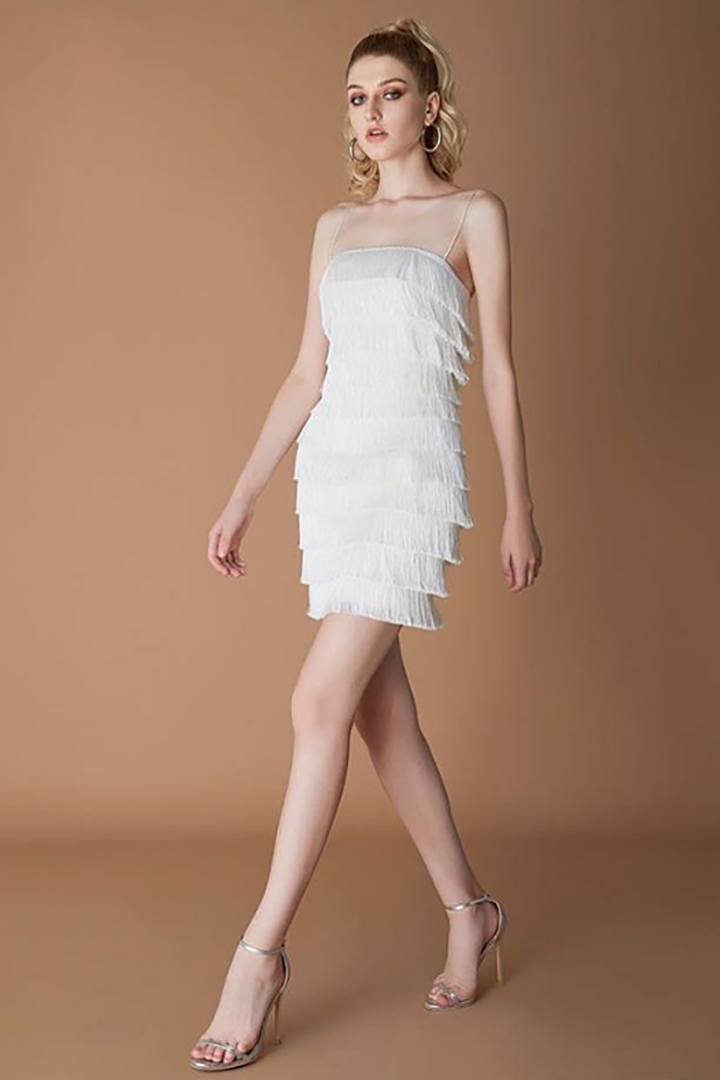 White Spaghetti Strap Tassel Dress - iulover