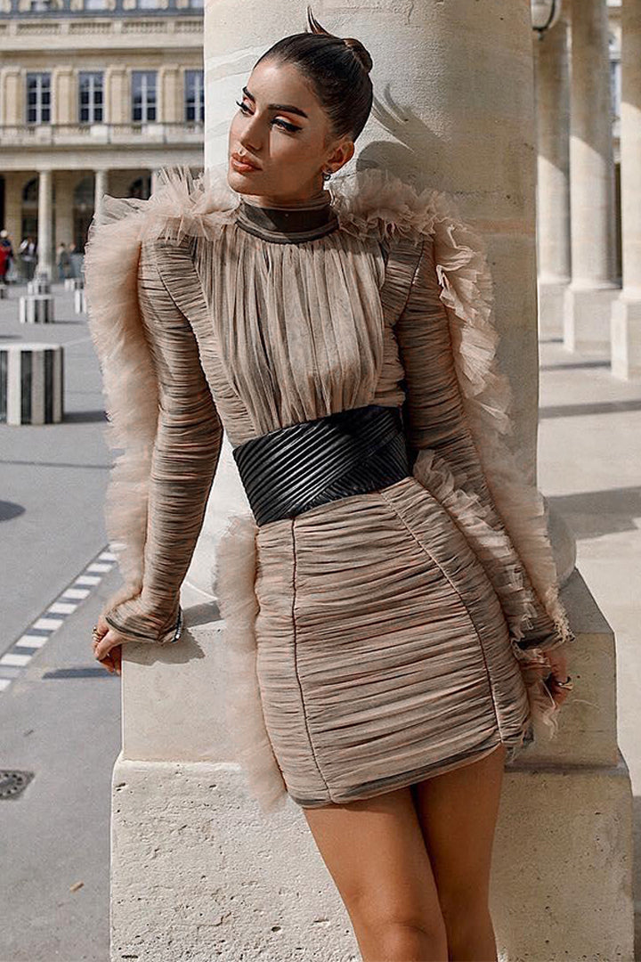 Stand Neck Long Butterfly Sleeve Bandage Dress - iulover