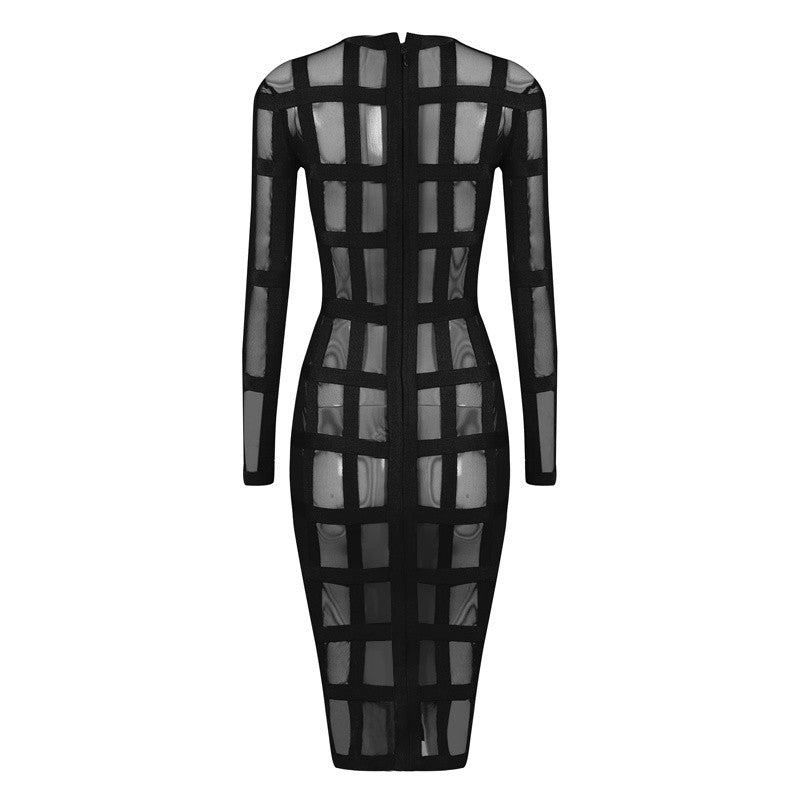 Mesh and Bandage See Through Sexy Club Dress - iulover