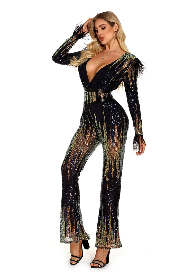 Multi V-Neck Sequins Jumpsuit - iulover