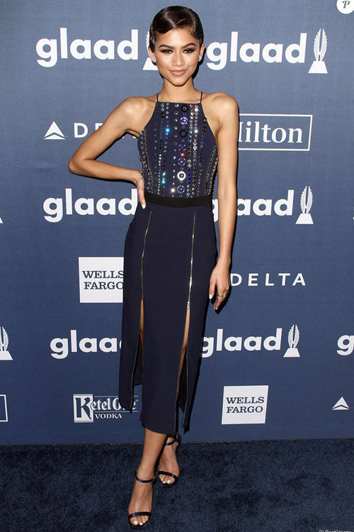 Zendaya Elegant Navy Blue Sequined Midi Dress - iulover