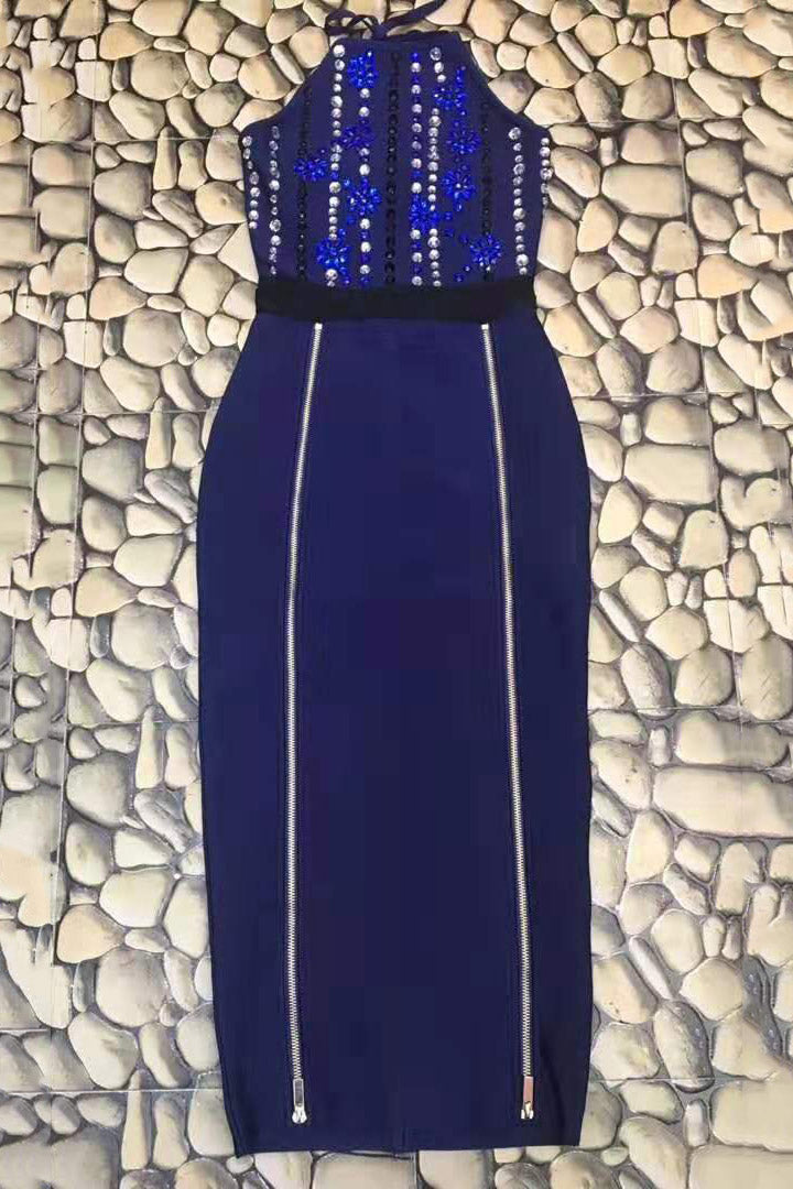 Zendaya Elegant Navy Blue Sequined Midi Dress
