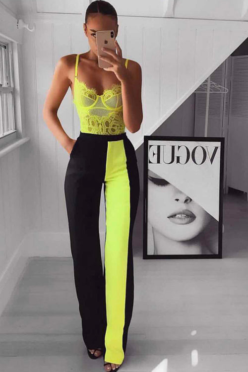 Neon Green Lace Bodysuits Black Pants Two Pieces Set - iulover