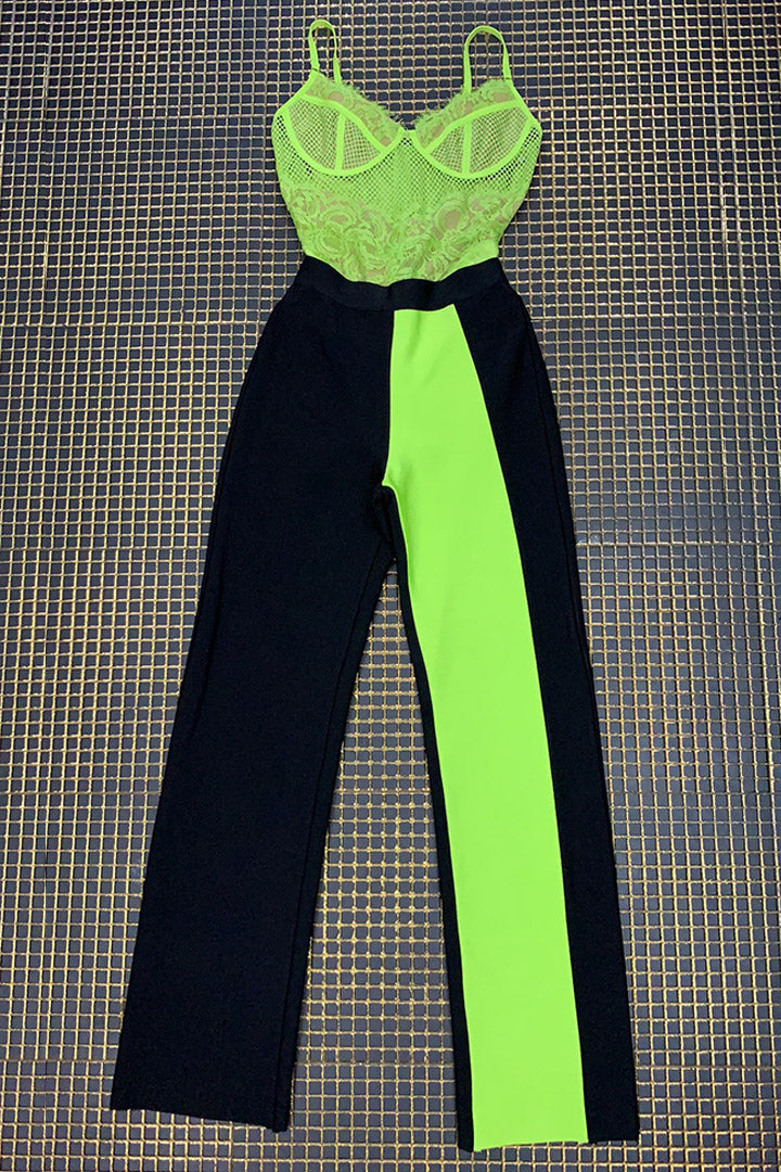 Neon Green Lace Bodysuits Black Pants - iulover