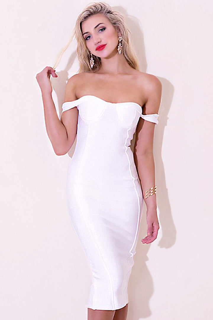 Off Shoulder Backless Midi Bandage Dress - iulover