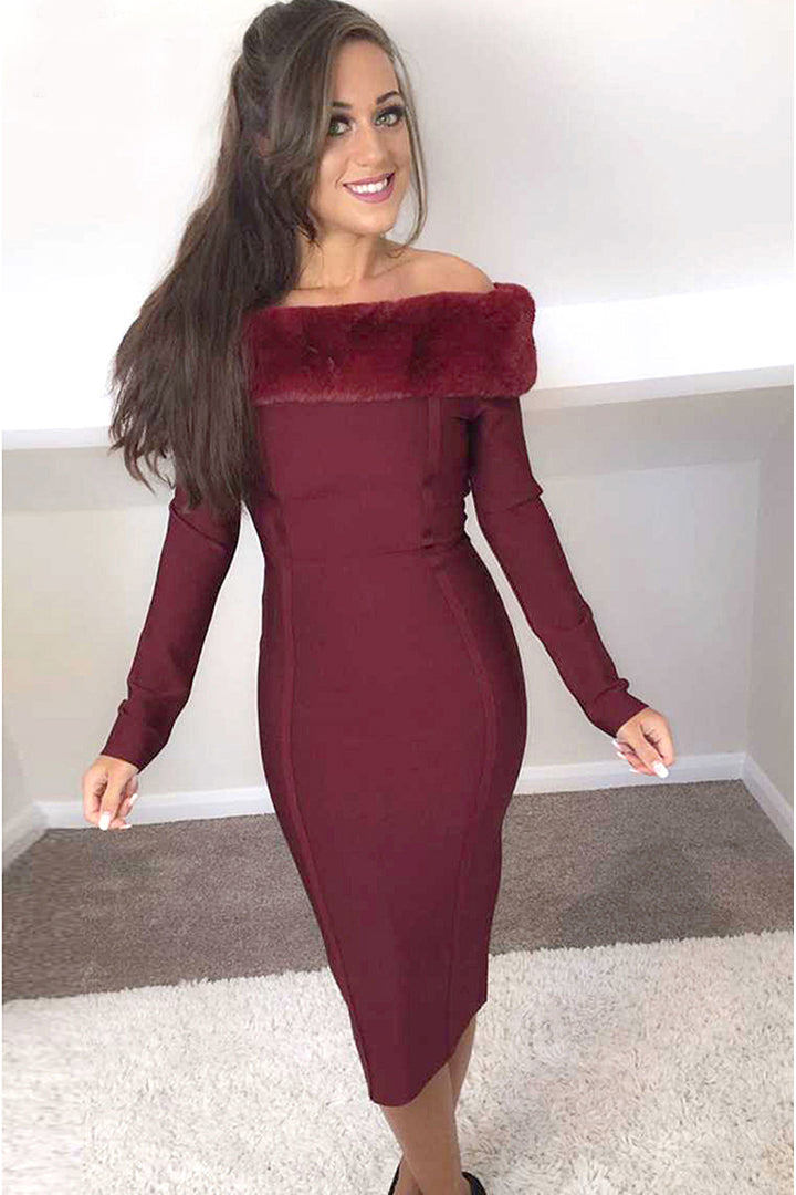 Off-shoulder Fur Trim Long Sleeve Bandage Dress - iulover