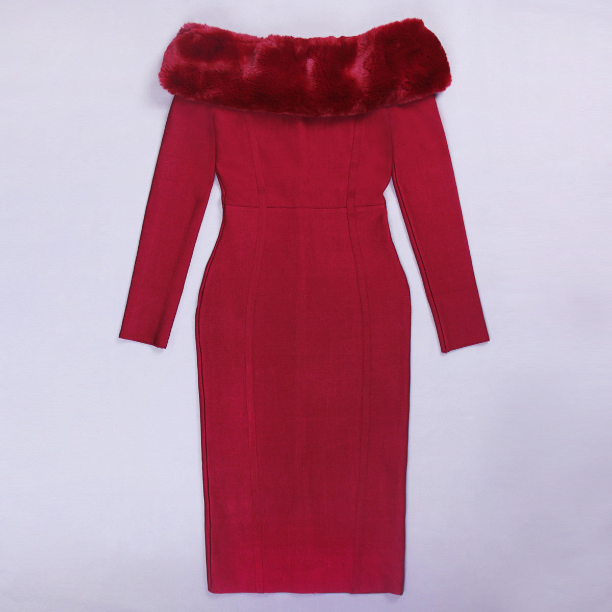 Off-shoulder fur trim long sleeves bandage dress wine - iulover