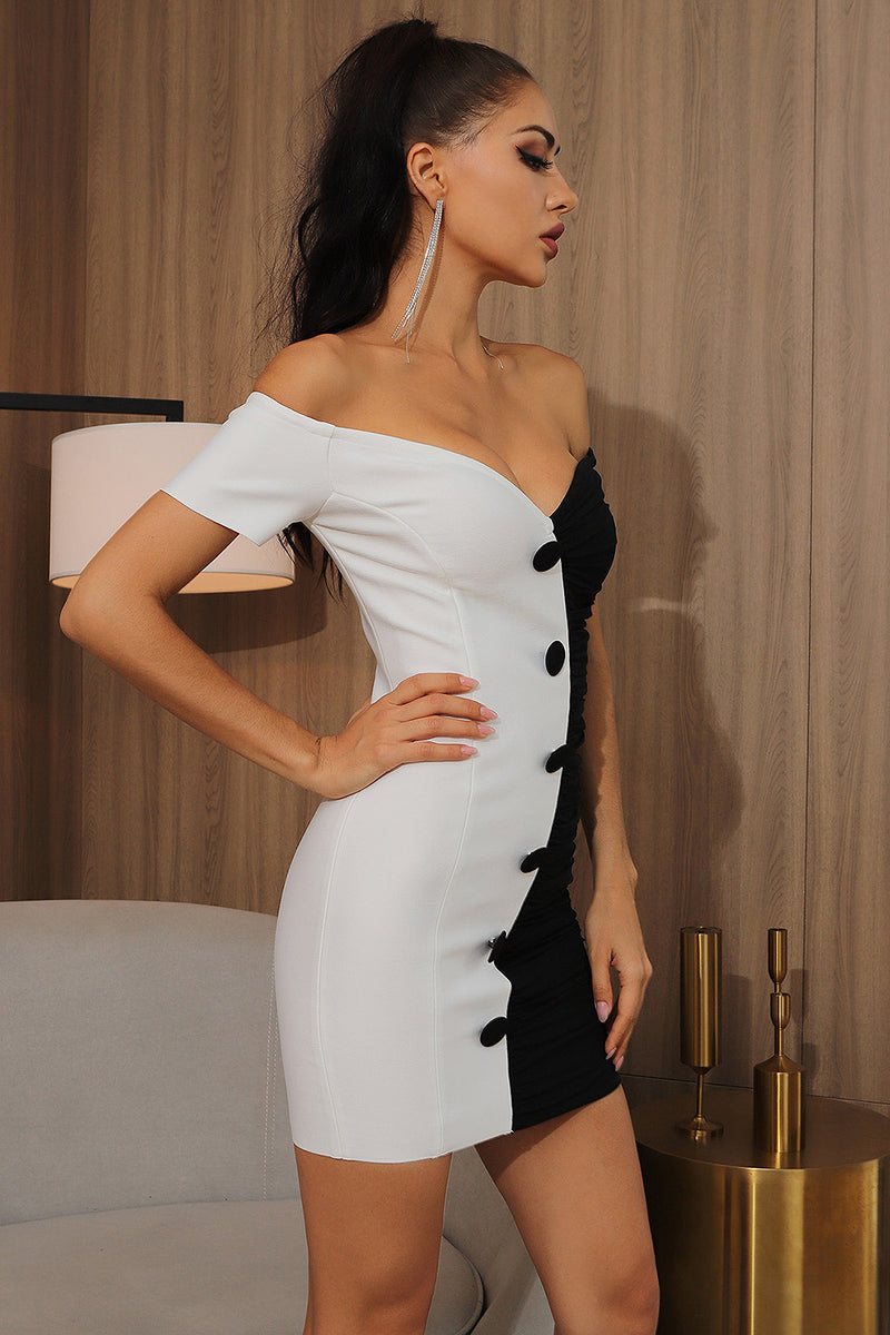 Off Shoulder Mesh Ruched Black White Patchwork Bandage Dress