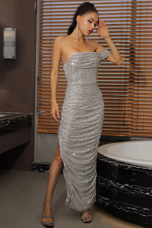Off Shoulder Mesh Sequins Sparkly Silver Split Dress