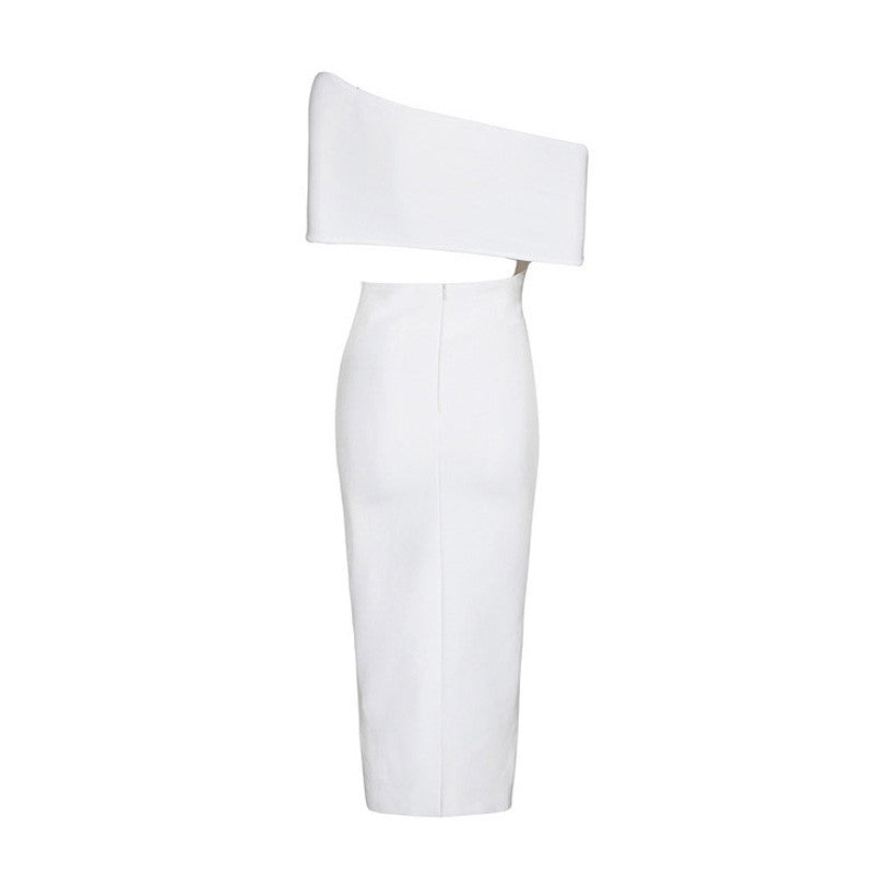 Off Shoulder High Splitting Cut Out Sexy Bandage Dress Balck White - iulover