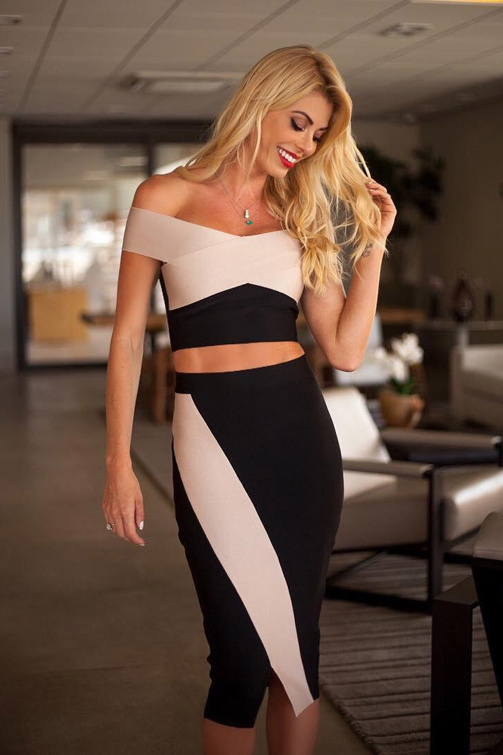 Off Shoulder Two Piece Set Bandage Dress - iulover