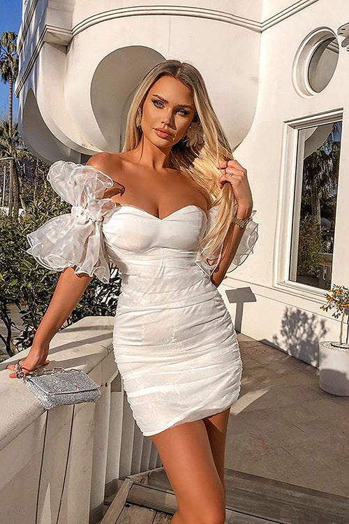 White Sleeveless Mesh Ruched White Bandage Dress