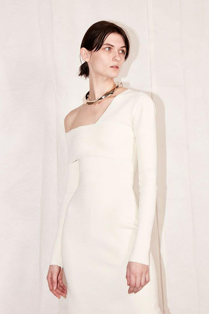 One Shoulder Full Sleeves Hollow Out Split Mid Bandage Dress