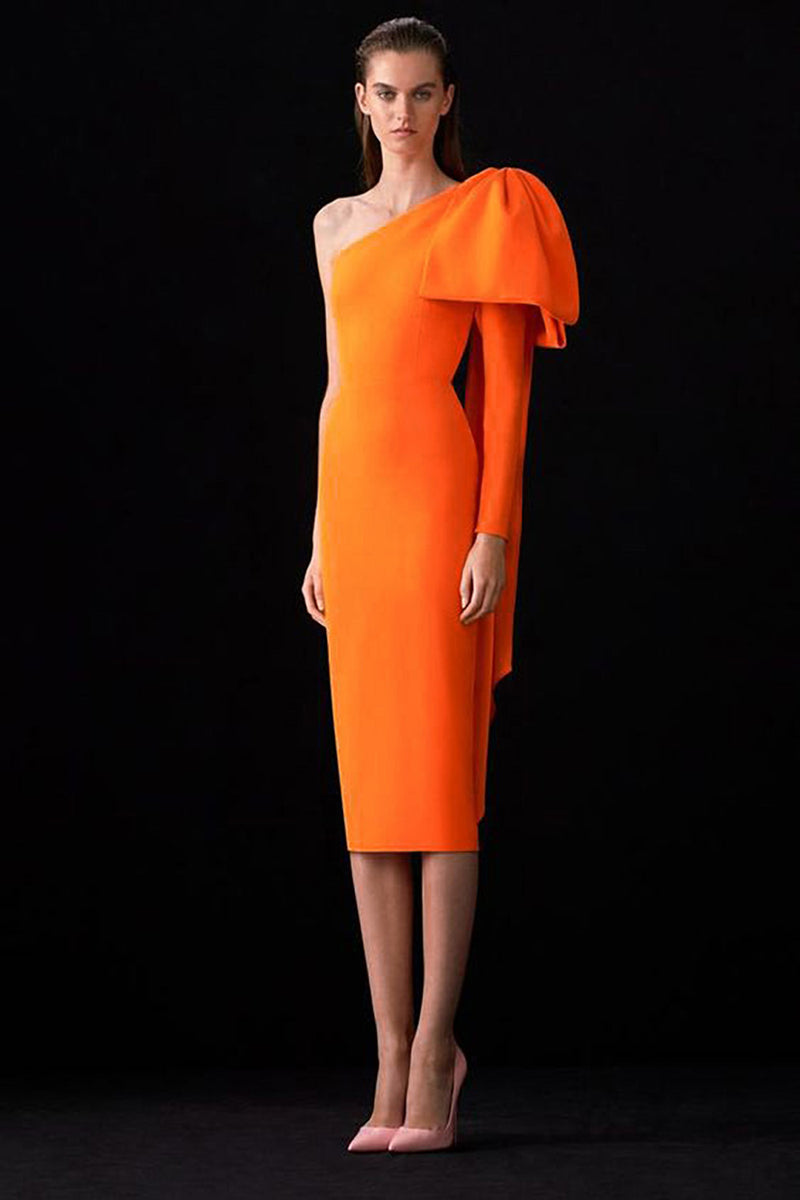Orange One Shoulder Long Sleeve Bandage Dress