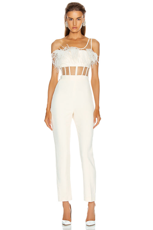 One Shoulder Feather Mesh Bandage Patchwork Jumpsuit