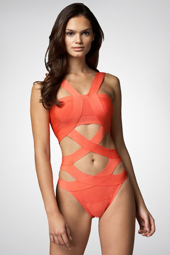 One Piece Orange Bandage Swimwears