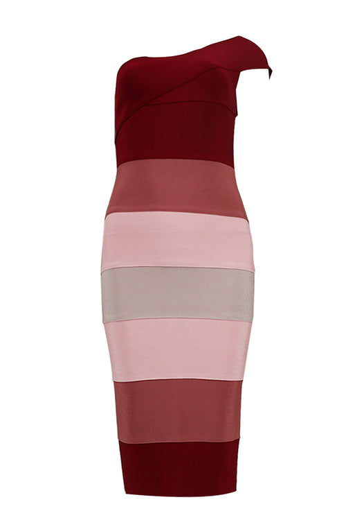 One Shoulder Multi Color Bandage Dress - iulover