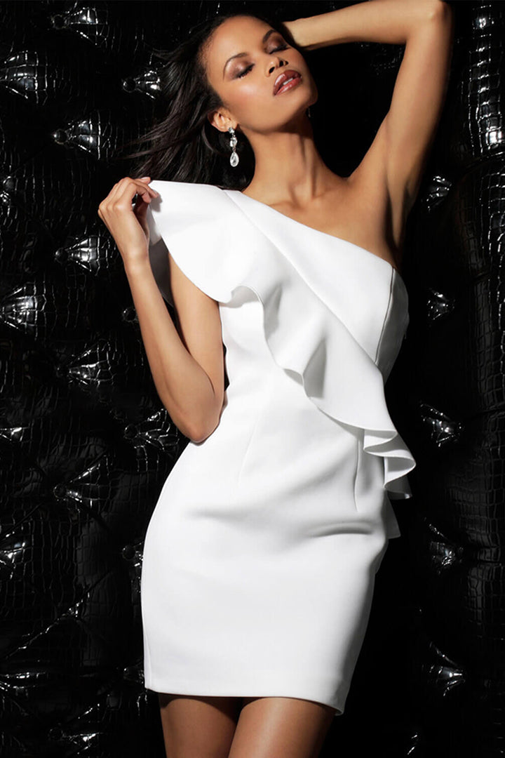 White One Shoulder Mini Ruffle Shoulder Bandage Dress - iulover