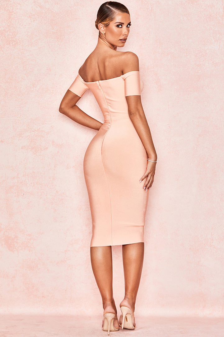 Peach V Neck Strapless Bandage Dress - iulover