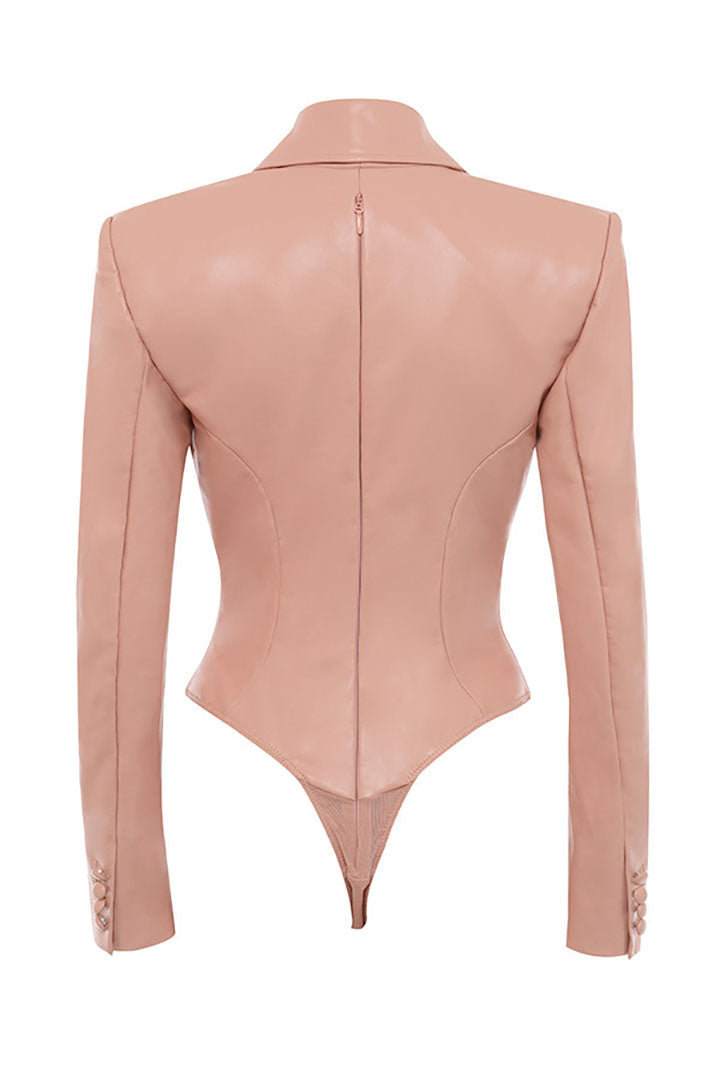 Peony Blush Stretch Vegan Leather Jacket Bodysuit - iulover