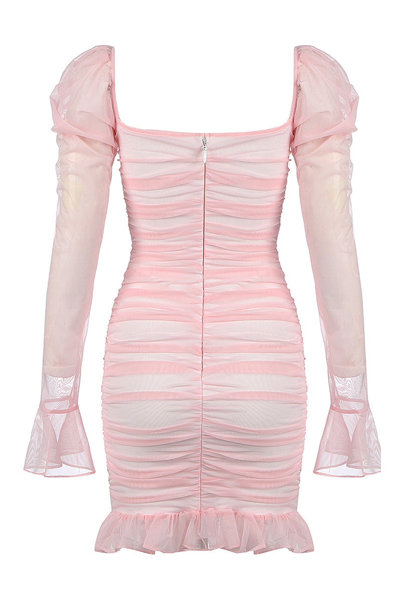 Pink Long-Sleeved Ruffled Pleated Mini Dress