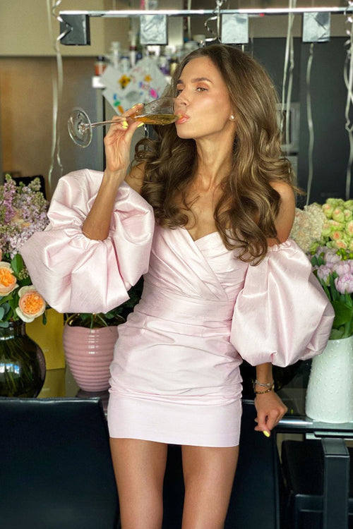 Pink Off The Shoulder Puff Sleeve Draped Mini Dress