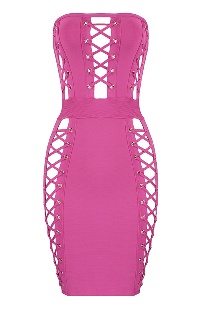 Pink Bandage Cut Out Mini Dress - iulover