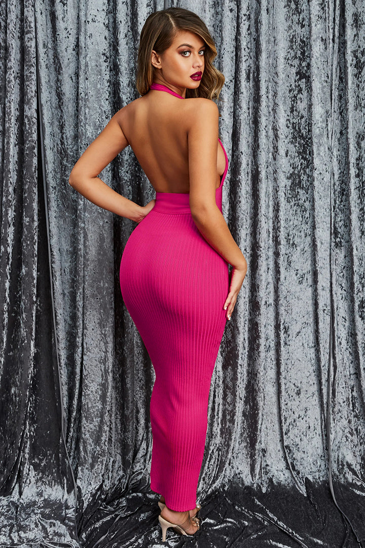 Pink Halter Deep V Midi Bandage Dress - iulover