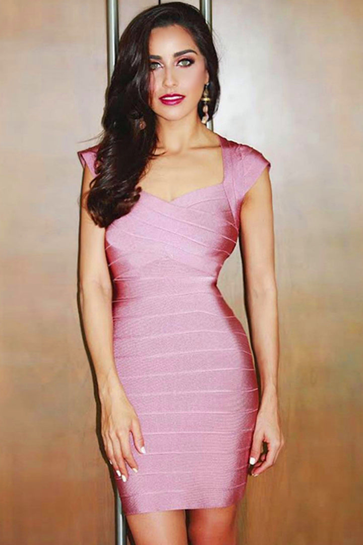 Pink V Neck Cape Sleeve Bandage Dress - iulover