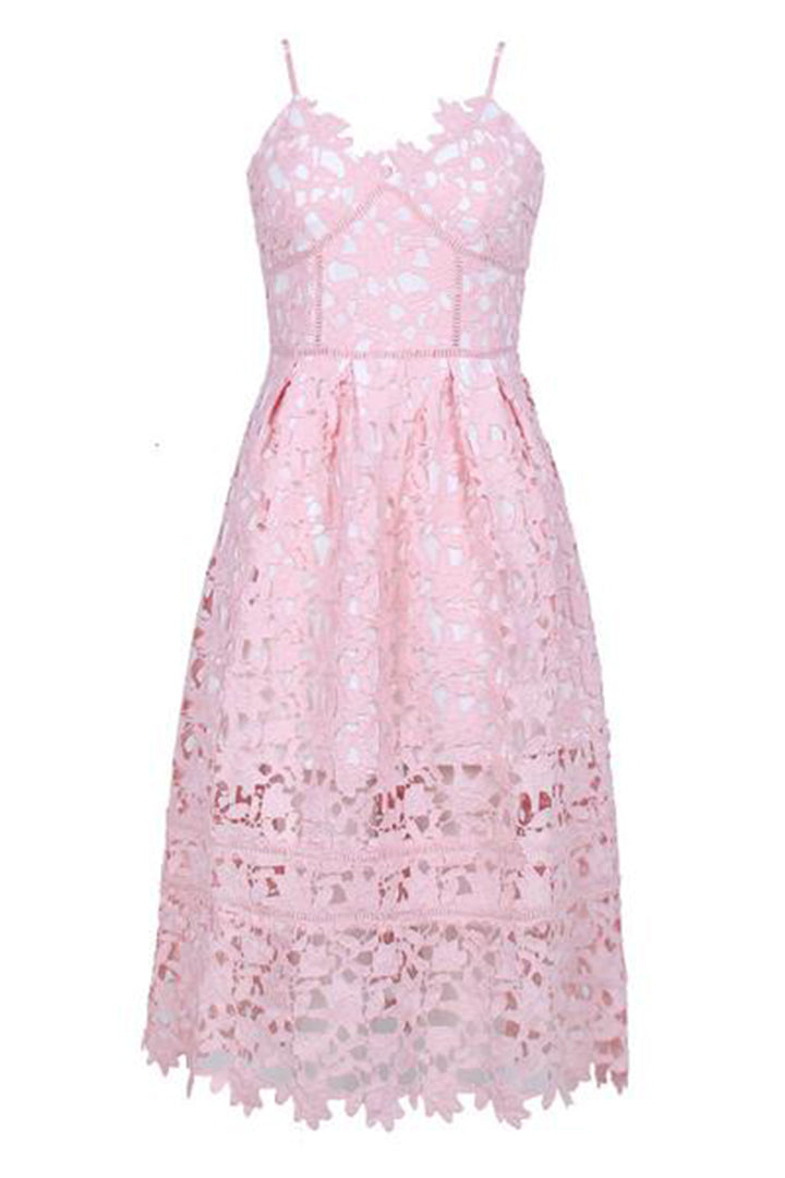Pink Lace Spaghetti Strap Midi Pattern Fashion Dress - iulover